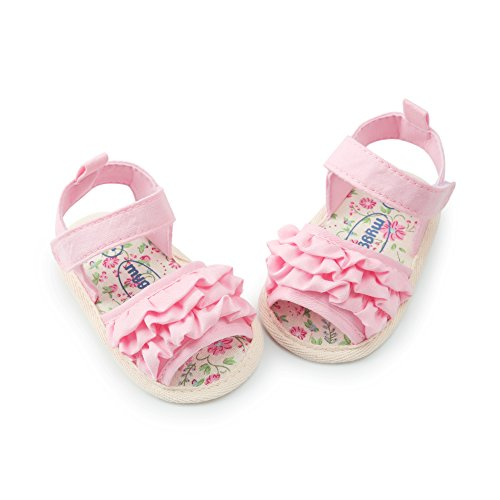 (Infant Baby Girl Non-Slip Sandals Soft Sole Crib Shoes Toddler Summer Bowknots Princess Dress Flats Pink 6-12 Months)