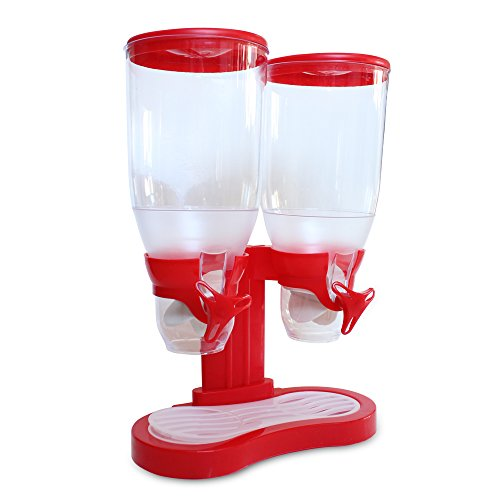 Dispensador de cereales / Despachador para alimentos secos / Dispensador basico para cereales y snacks con base rojo /...