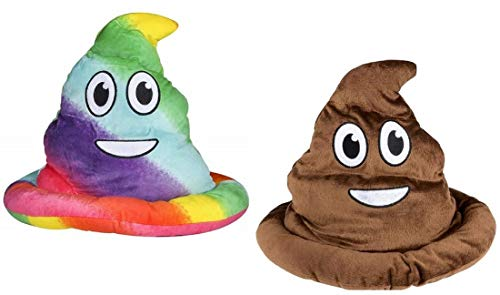 Novelty Treasures Soft Fabric Rainbow Emoji Poop Hat and Brown Emoticon Poop Hat (One of Each) ()