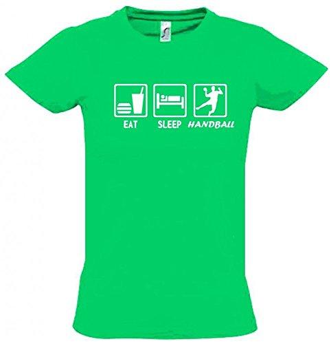 EAT SLEEP HANDBALL Kinder T-Shirt green-weiss, Gr.164cm