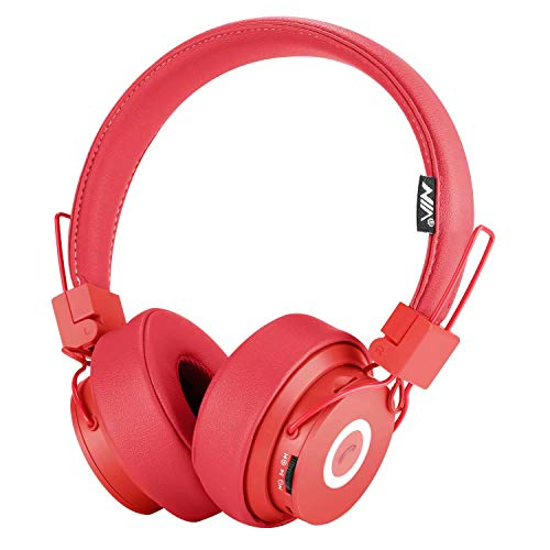 Bluetooth Headphones Over Ear, Hi-Fi Stereo Foldable On-Ear Headset with Microphone, APP to Control Headphones, Soft Earmuffs Support SD Card FM Radio Wired and Wireless Headset for Kids Adults, Red