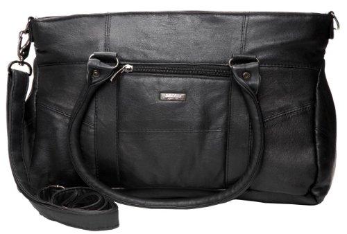 Lorenz - Bolso de tela de cuero para mujer negro negro Large ...