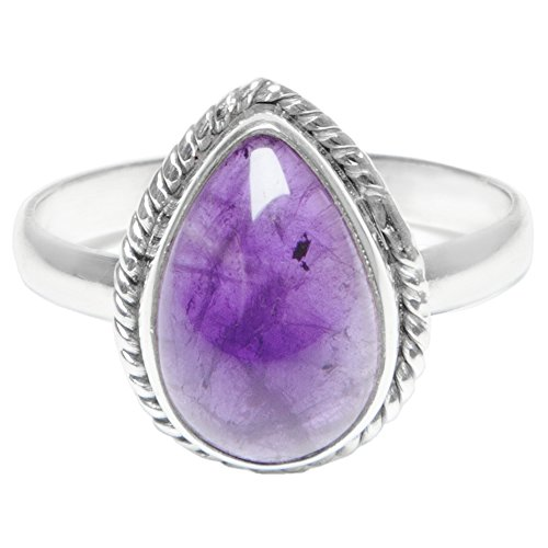 Amethyst Ring Sterling Silver Purple Gemstone (L 1/2)