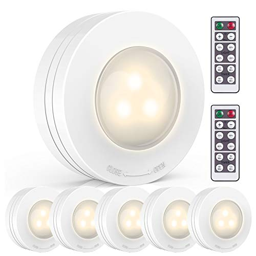 (LED Puck Lights, AKAPH Wireless Battery-Operated Stick-On Touch Tap Lamp for Closets Cabinets Cupboards Bathroom, White, Pack of 6)