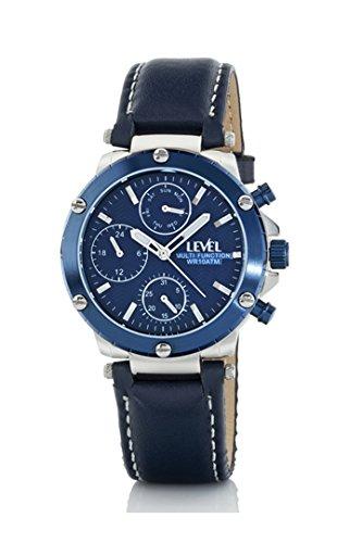 Reloj Unisex, Level Multifunción, Caja acero bisel azul, correa cuero azul, 100 m.sumergible: Amazon.es: Relojes