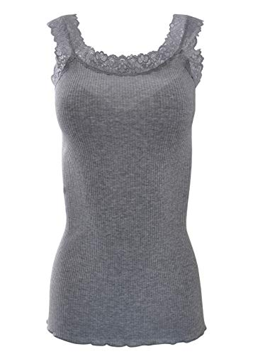 BASIC COTTON Free Spirit Premium Quality 100% Cotton Women's Lace Trim Tank Top. Proudly Made in Italy. (L/XL, Grigio)