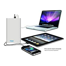 Lizone® Extra Pro 60000mAh Super Capacity Portable External Battery Adapter Charger for Apple MacBook Air, MacBook Pro, MacBook, PowerBook and iBook; HP Compaq Pavilion, Mini, ElifeBook, ProBook,Presario, Envy and G; IBM Lenovo ThinkPad and IdeaPad; USB Port for iPad Air, iPad mini,iPad and iPhone; Samsung Galaxy, Nexus , MOTO, G, LG, HTC and More -Aluminum UniBody, 18 Months Warranty Silver 60000mAh