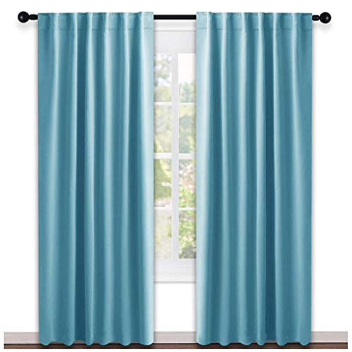 NICETOWN Window Treatment Solid Blackout Curtains - (Teal Blue Color) 52x84 Inch, 2 Panels, Blackout Drapery Panels for Kids Bedroom (Turquoise Light Curtains)