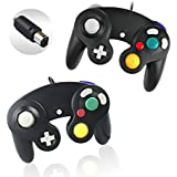 Reiso 2 Packs NGC Controllers Classic Wired Controller for Wii Gamecube(Black 2 Packs)