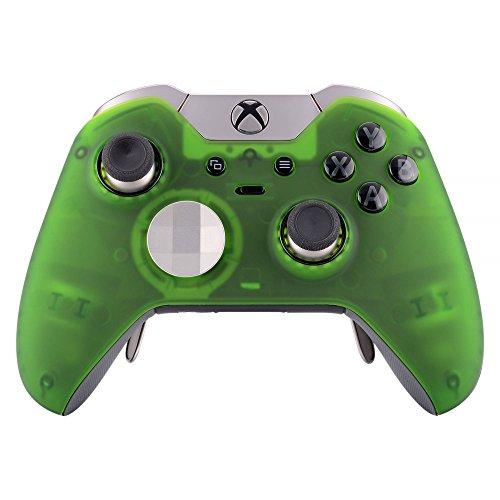 eXtremeRate Soft Touch Grip Front Housing Shell Faceplate for Microsoft Xbox One Elite Controller with Thumbstick Accent Rings - Foggy Clear Green ()