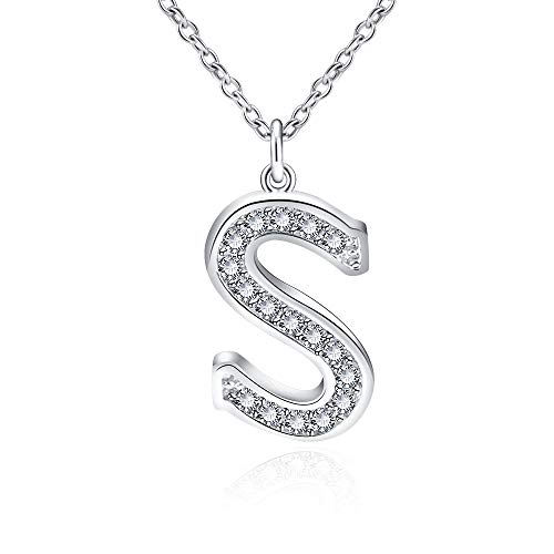 Jeka Sterling Silver Initial Alphabet Letter Name Charm Pendant Enhancers Necklace Personalized Gifts for Women Girls ()