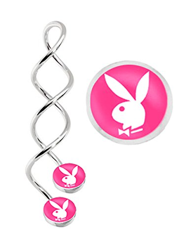 (Officially Licensed Pink Playboy logo Unique Spiral long Twist Belly button or industrial Ear piercing navel Ring earring body Jewelry piercing - 14 gauge)