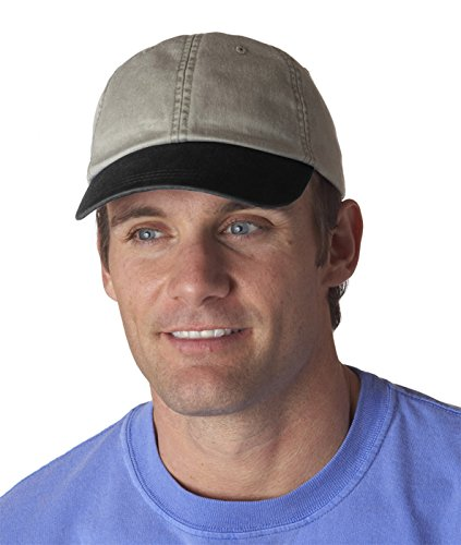 Adams 6-Panel Low-Profile Washed Pigment-Dyed Cap, Stone/ Black, OS