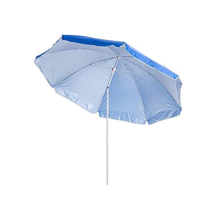 41ln7sVc6JL Esta sombrilla está hecha de protección UV y poliéster antidecoloración que es perfecta para bloquear los dañinos rayos UV del sol. Es inclinable, regulable en altura y plegable. Una propuesta novedosa, práctica y funcional para disfrutar de laplayay el sol, que te garantiza una buena sombra.