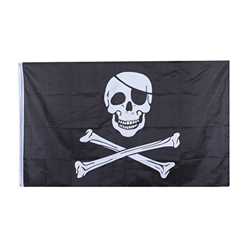 Skull Skull - Halloween Huge Feet Skull And Cross Crossbones Sabres Swords Jolly Roger Pirate Flags With Grommets - Skull Flags Sword Caps Mold Banners Streamers Confetti Tiger Tooth Roger -