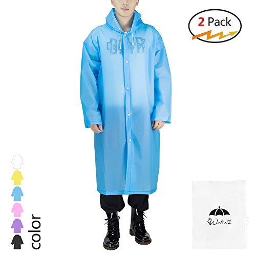 Silkclo 2 Pack Reusable Rain Ponchos for Adult,Emergency Rain Coat with Hood & Sleeves,for Camping Hiking,Traveling,Fishing (Blue) (Disney Jackets For Adults)