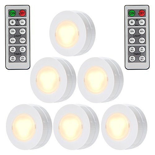 Dsstyle 6 Packed Led Puck Lights Remote Controlled Closet
