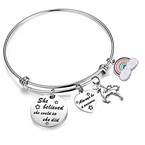 PLITI She Believed She Could So She Did Bracelet Always Be A Unicorn Charm Cuff Bangle Inspirational Jewelry Gift