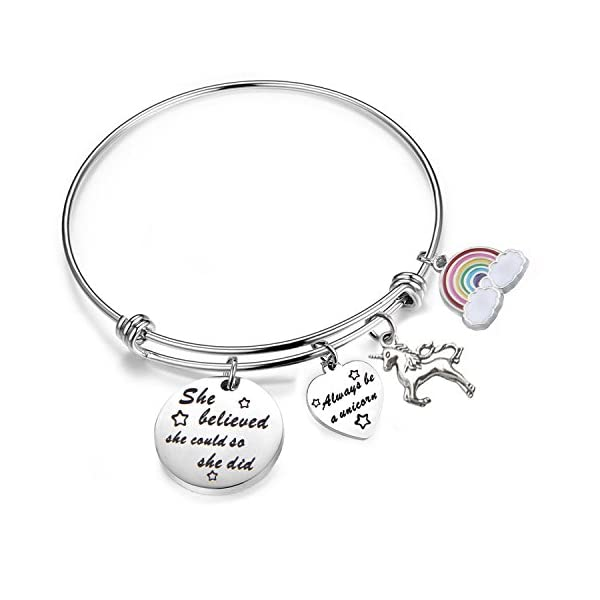 PLITI She Believed She Could So She Did Bracelet Always Be A Unicorn Charm Cuff Bangle Inspirational Jewelry Gift 3