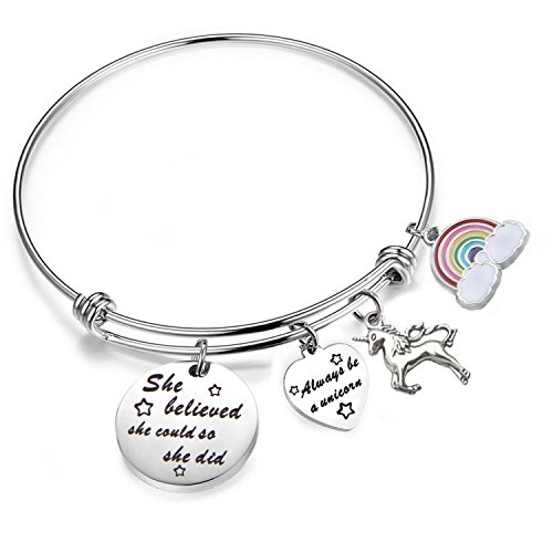 (PLITI She Believed She Could So She Did Bracelet Always Be A Unicorn Charm Cuff Bangle Inspirational Jewelry Gift)