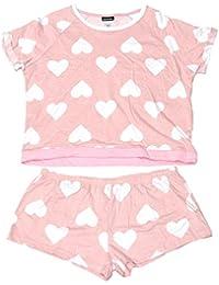 Womens Pink hearts Short-Sleeve Pajama Shorts Set
