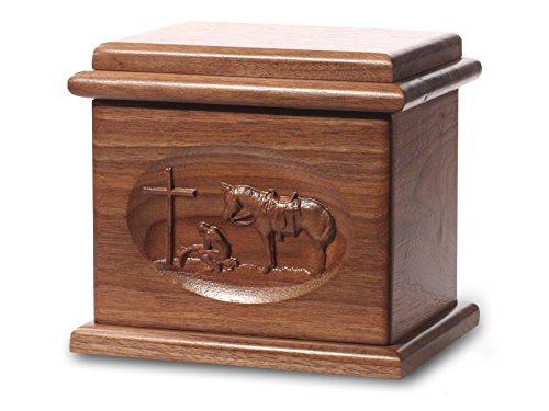 Cremation Urn - Deluxe Oak Wood with Black Walnut Stain - Praying Cowboy - Oak Wood Cremation Urn