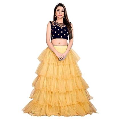 LOROFY Women's Ruffle Net Lehenga Choli (Yellow; Free Size)