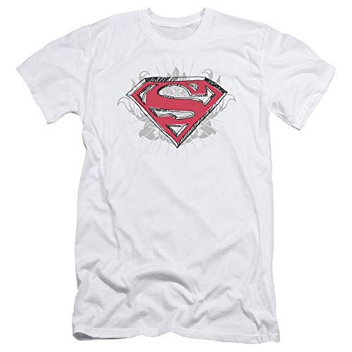 Superman Hastily Drawn Shield Slim Fit Unisex Adult T Shirt for Men and Women, Large White ()
