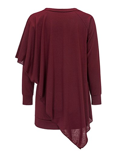 Hiver Unie Chemisiers Rouge Irregulier Longues Tees Couleur Automne Femmes Jumpers Tunique et Hauts T Col Tops Manches Fashion Vin V Shirts Blouse wT65qBAT