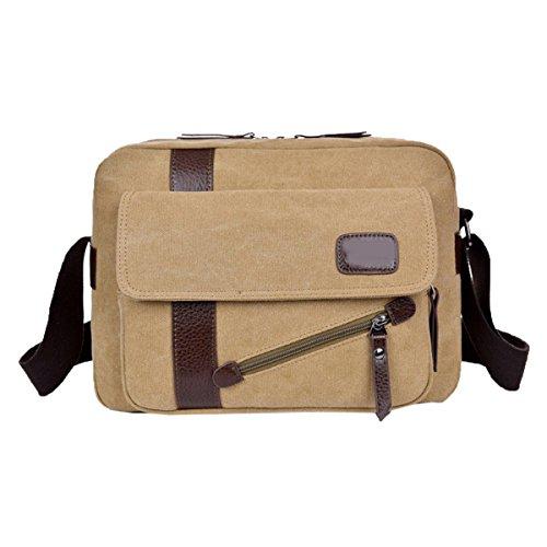 Retro Business Travel Canvas Laptop Messenger Shoulder Bag Para Hombres Boy Zip Casual Crossbody Bag Satchel Multicolor Khaki