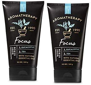 Bath and Body Works 2 Pack Focus Eucalyptus & Tea Aromatherapy Smoothing Body Scrub 9.5 Oz.