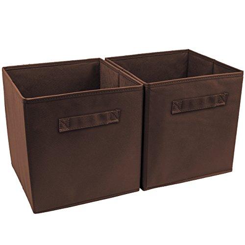 Sorbus Foldable Storage Cube Basket Bin (2 Pack, Chocolate)
