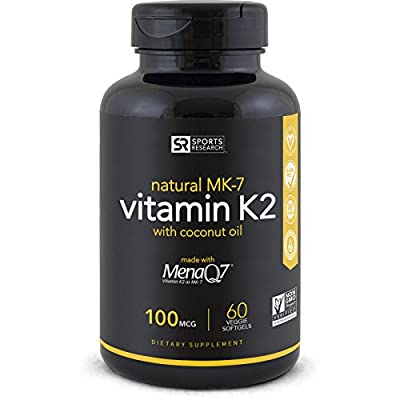 Sports Research Vitamin K2 (MK7) with Organic Coconut Oil and MenaQ7, 100mcg, 60 Veggie Liquid Softgels