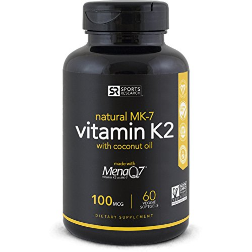 Vitamin K2 (as MK7) 100mcg with Organic Coconut Oil for better absorption | Made with clinically proven MenaQ7 and Formulated without Soy or gluten ~ Non-GMO Verified, Vegan & Vegetarian safe. 41ln9tKm1oL