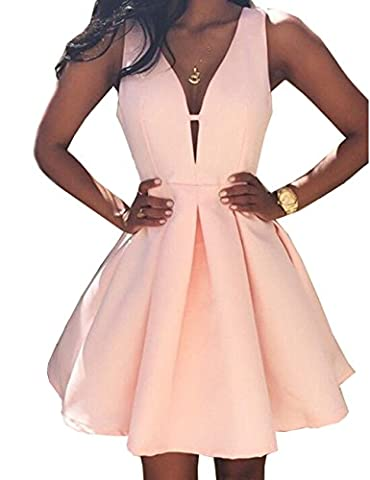 Beautydress Womens V-neck Satin Short Prom Party Dress Homecoming Gown BP117 (Status Of A Returned Item)