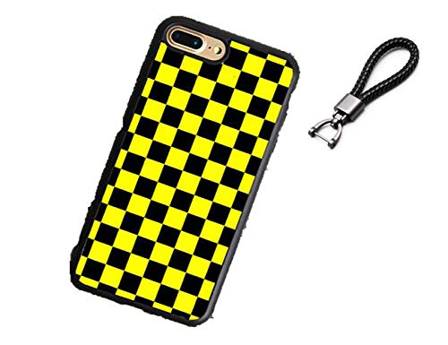 Shareef E-Com Checkerboard Plaid iPhone Case with Free Black Woven Keychain (Yellow Black, XR) ()