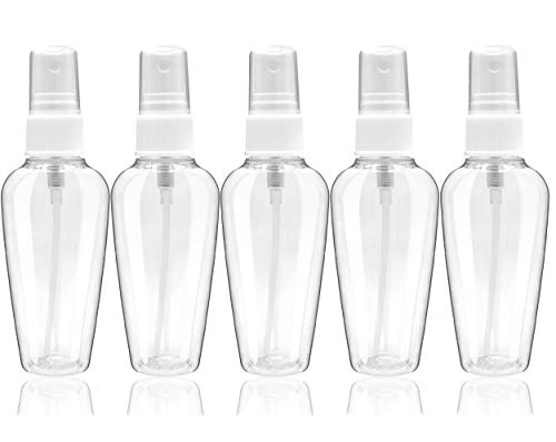 Fine Mist Spray Bottles - 2 Ounce Empty Mini Refillable Plastic Sprayer with Atomizer Pump for Essential Oils, Travel, Water Mister, Cleaning Solutions, Perfume and Makeup Cosmetic Use - Set of 5 ()