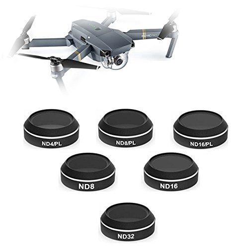 Aerial Photography Neutral-Density-Polarizer Filter Set For DJI Mavic Pro Filter Kit Includes: ND4/PL, ND8/PL, ND16/PL, Neutral-Density ND8, ND16, ND32 Filters