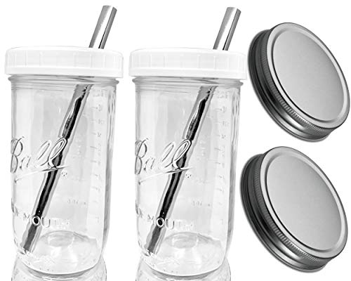 Reusable Boba Bubble Smoothie Cup Wide Mouth Glass Ball Mason Jar with Extra Wide STAINLESS STEEL Straws Boba Cups and Lids and Straws-Drinking Lid and Silver Leak Proof Caps(2) by Jarming Collections