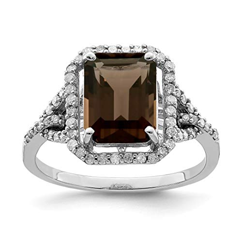 Ring Cushion Cut Diamond Bow (925 Sterling Silver Octagonal Diamond Smoky Quartz Band Ring Size 7.00 Gemstone Fine Jewelry For Women Gift Set)