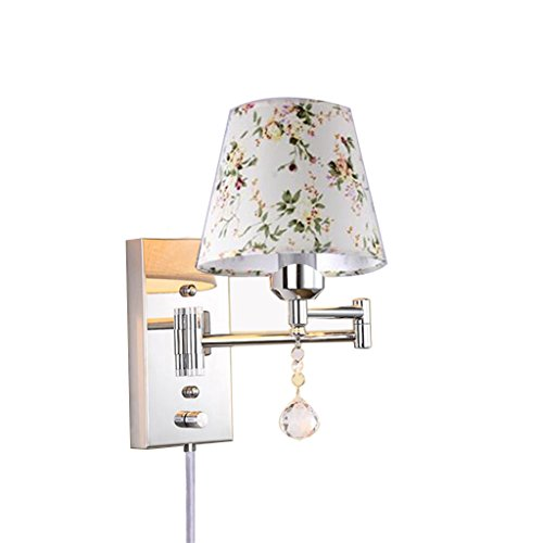 ZJZTD Plug-in Swing Arm Wall Sconce E27 Metal Crystal and Cloth Shade Living Room Bedroom Bedside Study Wall Lamp (Size : 30cm×22cm)