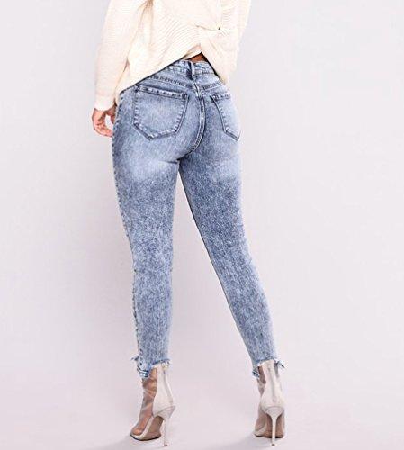 Mode Des Femmes Pantalon Bleu Dchirs Jeans Trou WanYang Haute Fonc Denim Taille La Casual De Stretch CxSFwABq
