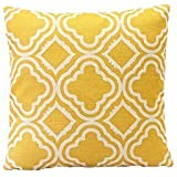 MSY 18*18 inch Cotton Linen Sofa Decor Throw Pillow Covers Cushion Cover Yellow