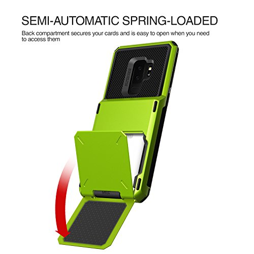Galaxy S9 Plus Wallet Case :: VRS :: Full Body Protective Armor :: Hybrid Card Slot Holder :: ID Credit Card Travel Wallet for Samsung Galaxy S9 Plus (Damda Folder - Lime Green) by V VRS DESIGN (Image #4)