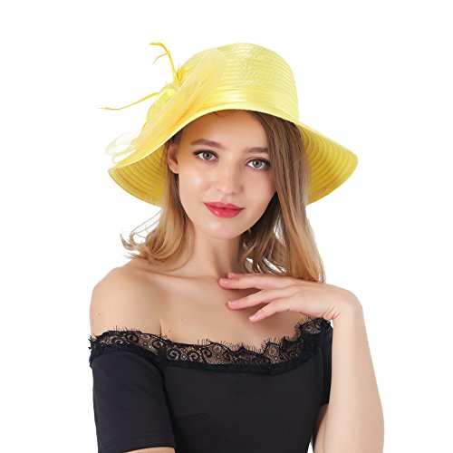 Dantiya Women's Organza Wide Brim Floral Ribbon Kentucky Derby Church Dress Sun Hat (Free, 2 Style-Lemon -