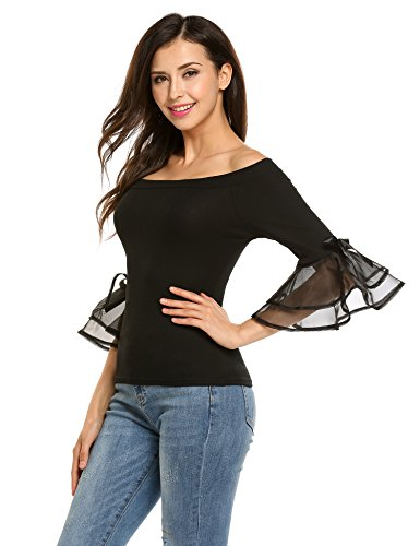 Easther Women's Sexy Off Shoulder Long Bowknot Bell Sleeve Top Shirt Slim Fit Blouse (Large, Black)