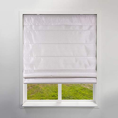 Arlo Blinds Privacy Fabric Roman Shades, Color Faux Silk Sand, 26.5 W X 60 H, Cordless Lift Window Blinds