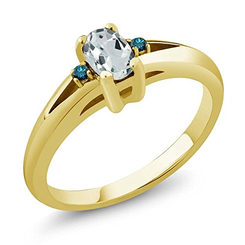 Gem Stone King 0.47 Ct Sky Blue Oval Aquamarine and Blue Diamond Yellow Gold Plated Silver Women s Ring Available 5,6,7,8,9