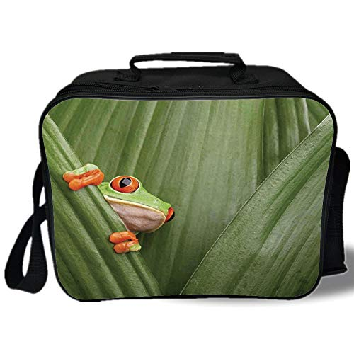 Animal Decor 3D Print Insulated Lunch Bag,Red Eyed Tree Frog Crowling between Leaves Tropical Jungle Rainforest Night Art,for Work/School/Picnic,Green