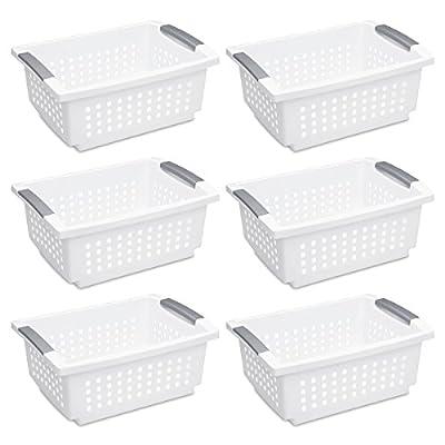 Sterilite 16628006 Medium Stacking Basket, White Basket w/Titanium Accents, 6-Pack